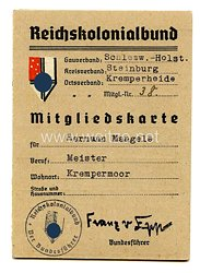 Reichskolonialbund - Gauverband Schleswig - Holstein Mitgliedskarte