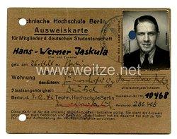 III.Reich Technische Hochschule Berlin Ausweiskarte für Mitglieder der Deutschen Studentenschaft