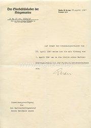 Kriegsmarine - Originalunterschrift von Ritterkreuzträger Großadmiral Dr. h.c. Raeder auf einem Schreiben