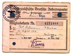 NSDAP - Ortsgruppe Wetzlar - Mitgliedskarte