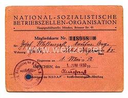 Nationalsozialistische Betriebszellen-Organisation ( NSBO ) - Mitgliedskarte