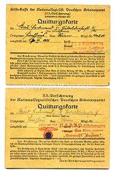 SA Versicherung - NSDAP - Quittungskarten Gau - Wien Ortsgruppe Fünfhaus 1931