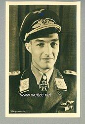 Luftwaffe - Portraitpostkarte von Ritterkreuzträger Hauptmann Wolf-Dietrich Huy