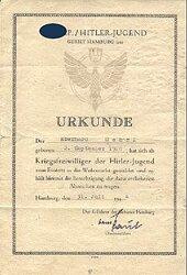 HJ - Urkunde zum Eintritt eines Kriegsfreiwilligen des Jahrgangs 1928 der Hitler-Jugend