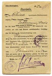 Weimarer Republik - Ausweis für eine aus China heimkehrende ( Zivilinternierte ) Frau