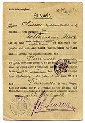 Weimarer Republik - Ausweis für einen aus China heimkehrenden ( Zivilinternierten ) Mann