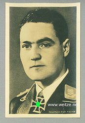 Luftwaffe - Portraitpostkarte von Ritterkreuzträger Hauptmann Erwin Fischer