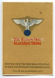 """III. Reich - farbige Propaganda-Postkarte - """" Erster Deutscher Beamtentag in der Hauptstadt der Bewegung vom 18.-24. Oktober 1937 """""""