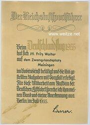 III. Reich - Anerkennungsurkunde für einen Segelflieger beim Deutschlandflug 1935