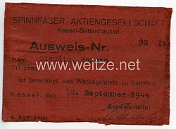 III. Reich - Spinnfaser Aktiengesellschaft - Ausweis für einen italienischen Angestellten
