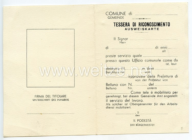 III. Reich - Präfektur Belluno ( Italien ) - Ausweiskarte für einen Mann