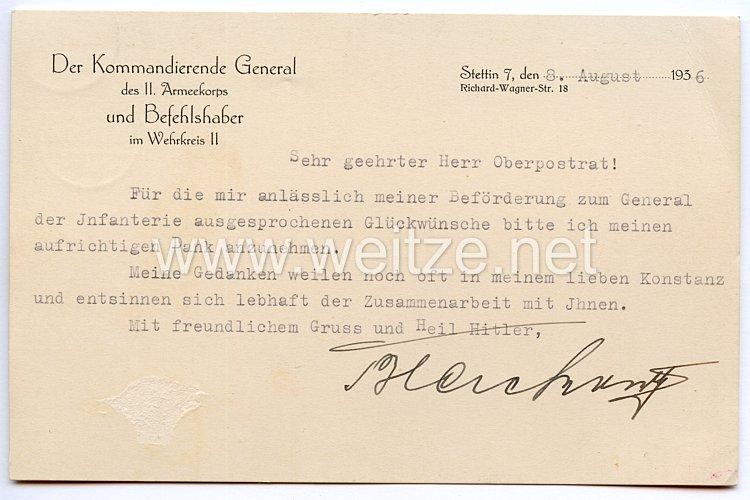 Heer - Originalunterschrift von Ritterkreuzträger General der Infanterie Johannes Blaskowitz
