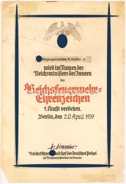 Allgemeine SS - Reichsfeuerwehr-Ehrenzeichen 1. Klasse - Verleihungsurkundefür den SS-Obergruppenführer August Heißmeyer