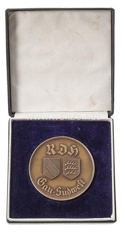 """III. Reich - Reichsverband für das Deutsche Hundewesen ( RDH ) - Gau-Plakette """" Für gute Leistung """" in Bronze"""