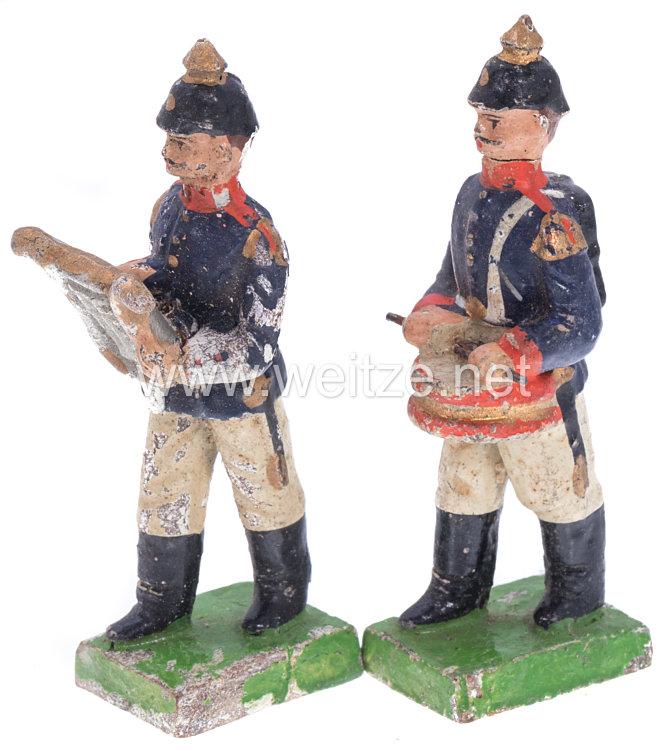 1. Weltkrieg Preussen 2 Musiker in blauer Uniform marschierend ( Trommler und Lyraträger )
