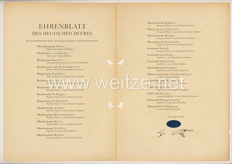 Ehrenblatt des deutschen Heeres - Ausgabe vom 14. August 1942