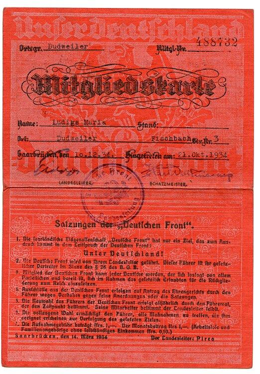 Deutsche Front - Mitgliedskarte