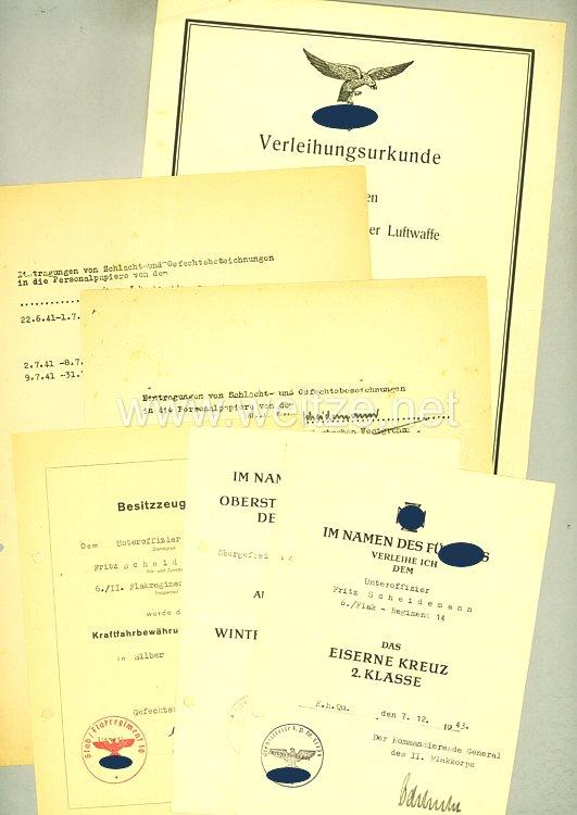 Luftwaffe - Urkundengruppe eines Obergefreiten und späteren Unteroffiziers im Flakregiment 14