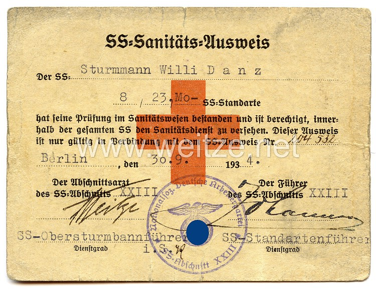 SS-Sanitäts-Ausweis für einen SS-Sturmmann
