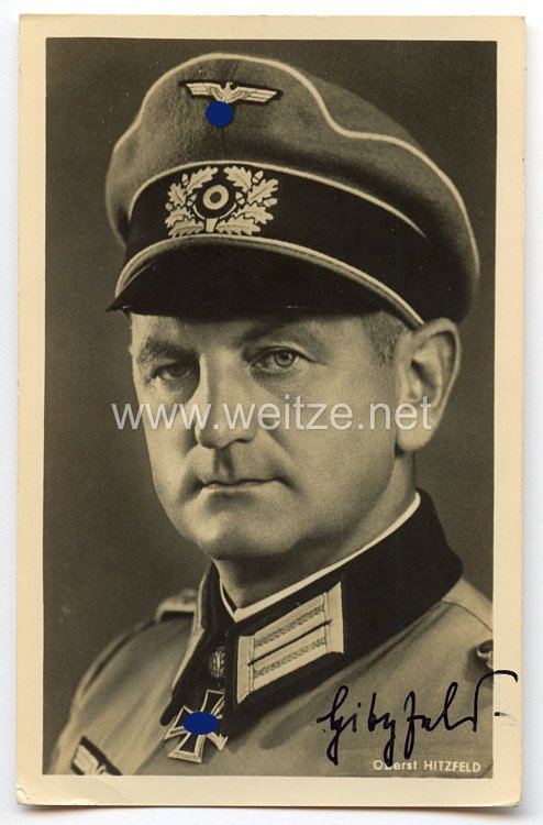 Heer - Originalunterschrift von Ritterkreuzträger Oberst Otto Hitzfeld