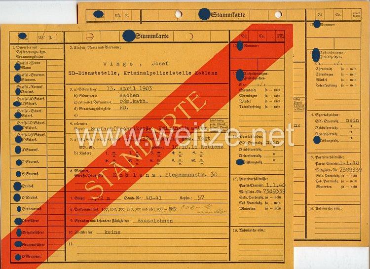 Sicherheitsdienst des Reichsführers SS ( SD )- zwei SS-Stammkarten für einen Kriminalbeamten der SD-Dienststelle Kriminalpolizeistelle Koblenz