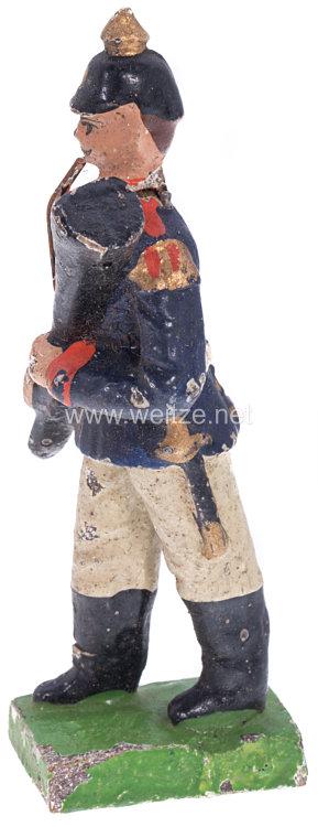 1. Weltkrieg Preussen Musiker in blauer Uniform marschierend ( Fagottbläser )