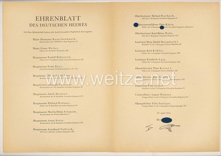 Ehrenblatt des deutschen Heeres - Ausgabe vom 27. April 1944