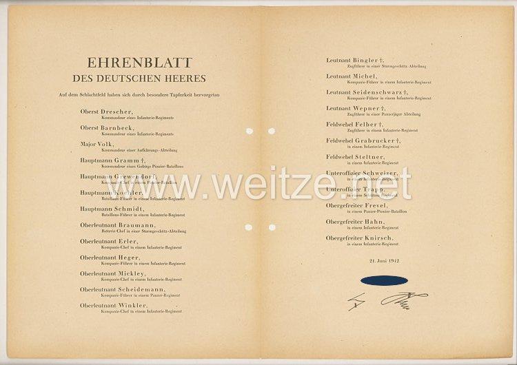 Ehrenblatt des deutschen Heeres - Ausgabe vom 21. Juni 1942