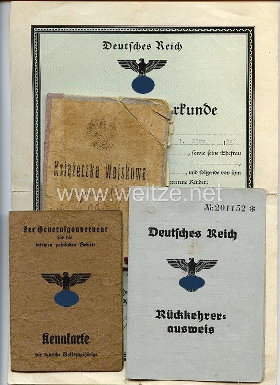 III. Reich - Dokumentengruppe für einen Mann des Jahrgangs 1903 Barki/Lublin Polen