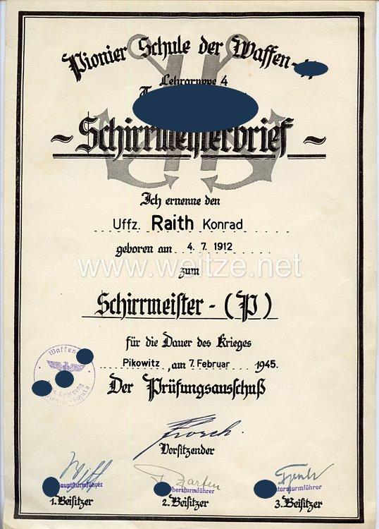 Waffen-SS - Schirrmeisterbrief der Pionier-Schule der Waffen-SS Lehrgruppe 4 Technische Lehrgänge