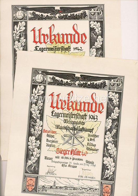 Heer - Urkundenpaar für Angehörige des Kriegsgefangenenlagers 23 in Kanada in den Jahren 1942-43
