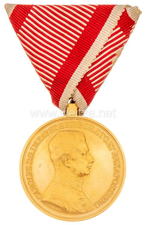 Österreich K. u. K. Monarchie Große Goldene Tapferkeitsmedaille Kaiser Karl, 1916-1918 für Unterjäger Jakob David Devich III. Tiroler Kaiser-Schützenregiment