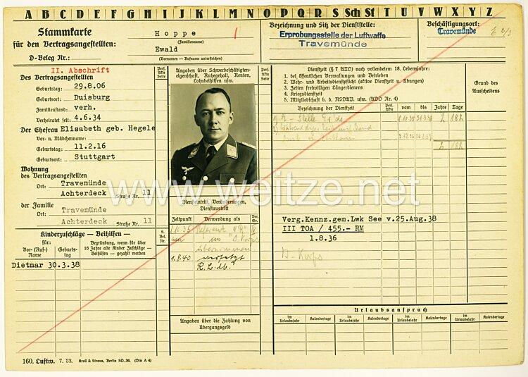 Erprobungsstelle der Luftwaffe Travemünde - Stammkarte für einen Vertragsangestellten