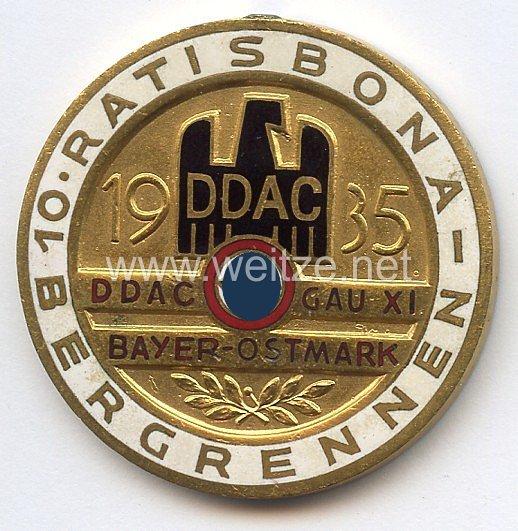 """III. Reich - Der Deutsche Automobil Club ( D.D.A.C. ) - nichttragbare Siegerplakette - """" DDAC Gau XI Bayer. Ostmark 10. Ratisbona-Bergrennen 1935 """""""