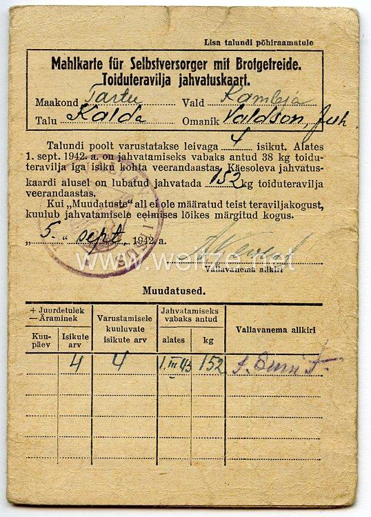 III. Reich / Estland - Mahlkarte für Selbstversorger mit Brotgetreide