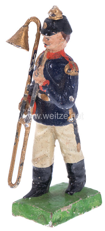 1. Weltkrieg Preussen Musiker in blauer Uniform marschierend ( Posaunenbläser )