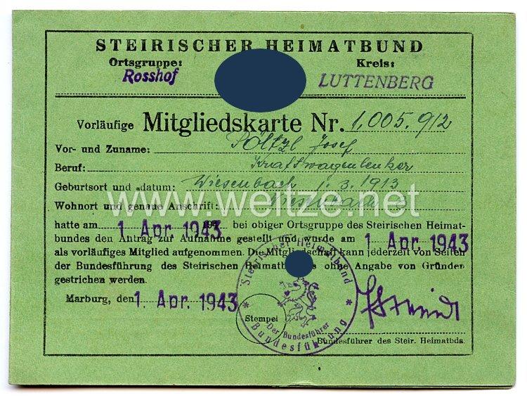 III. Reich - Steirischer Heimatbund - Ortsgruppe Rosshof Kreis Luttenberg - Vorläufige Mitgliedskarte