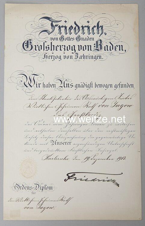 Baden - große Verleihungsurkunde zum Großkreuz des Ordens vom Zähringer Löwen