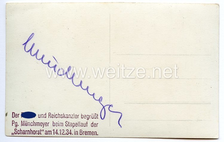 III. Reich - Originalunterschrift von Pfarrer a.D. Ludwig Münchmeyer, M.d.R. - Träger des Goldenen Parteiabzeichens -