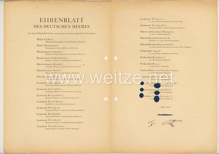 Ehrenblatt des deutschen Heeres - Ausgabe vom 4. Mai 1942