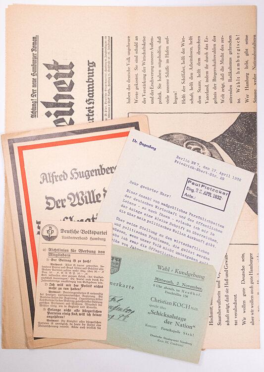 Weimarer Republik - Großes Konvolut von Dokumenten verschiedener nationalgesinnter Parteien der 20er und 30er Jahre in Hamburg