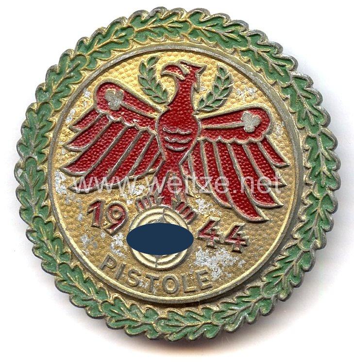 """Standschützenverband Tirol-Vorarlberg -Gaumeisterabzeichen 1944 in Gold mit Eichenlaubkranz """" Pistole """""""