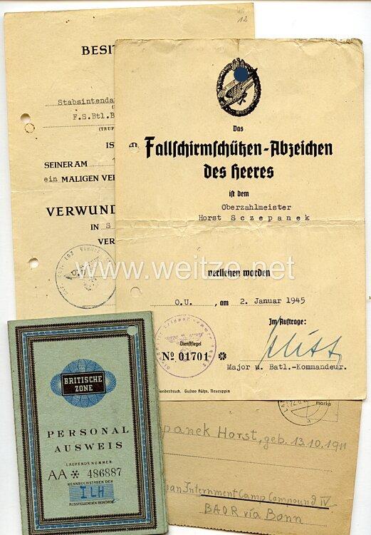 Fallschirmschützenabzeichen des Heeres - Verleihungsurkunde und mit weiteren Dokumenten