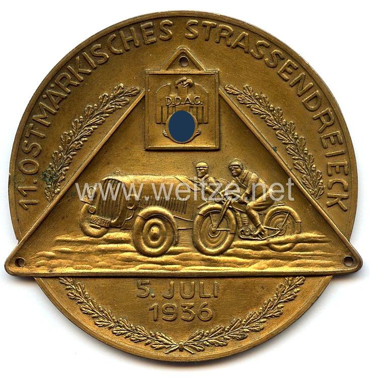 """Der Deutsche Automobil Club ( DDAC ) - nichttragbare Teilnehmerplakette"""" 11. Ostmärkisches Strassendreieck 5. Juli 1936 """""""