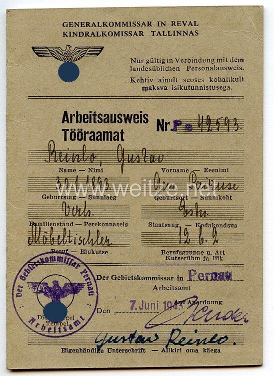 III. Reich - Generalkommissar in Reval ( Estland ) - Arbeitsausweis für einen Mann des Jahrgangs 1893