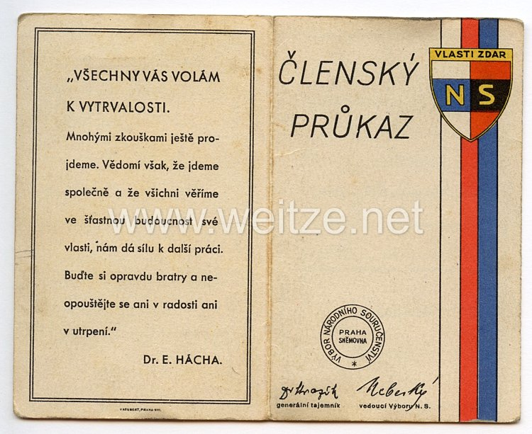 III. Reich - Tschecheslowakei - Narodni Sourucenstvi ( NS ) - Mitgliedsausweis für einen Jungen des Jahrgangs 1911