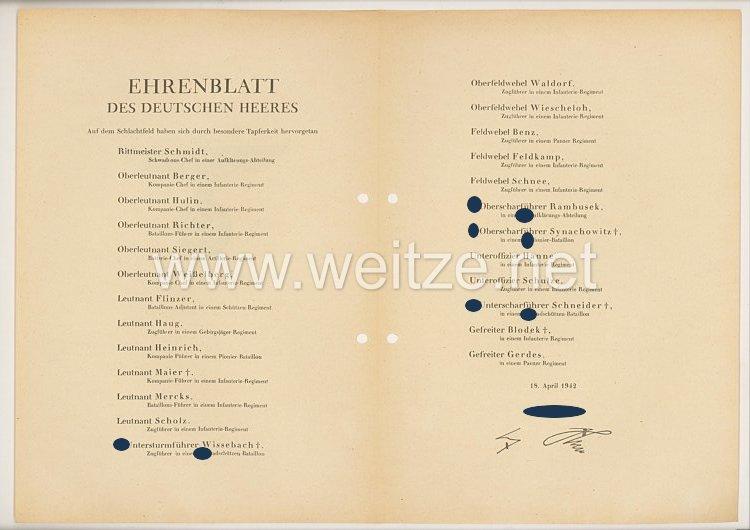 Ehrenblatt des deutschen Heeres - Ausgabe vom 18. April 1942