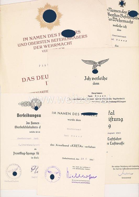 Luftwaffe - große Dokumentengruppe des Deutschen Kreuz in Gold Trägers Hauptmann Paul Hoser als Sturzkampfflieger
