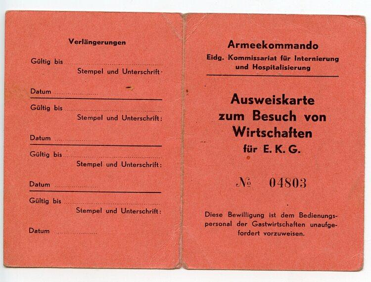 III. Reich - Armeekomanndo italienisches Internierungs-Lager Meiringen - Ausweiskarte zum Besuch von Wirtschaften für E.K.G.