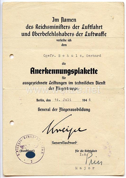 Luftwaffe - Verleihungsurkunde für die Anerkennungsplakette für ausgezeichnete Leistungen im technischen Dienst der Fliegertruppe